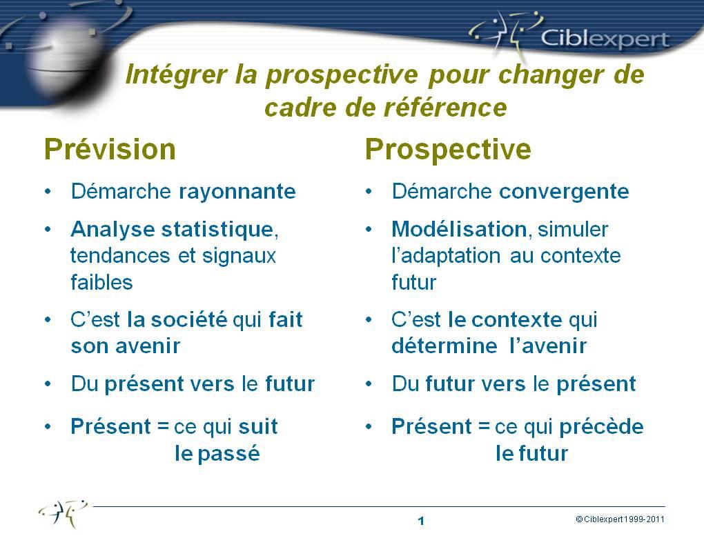 Comparaison entre prospective et prévision